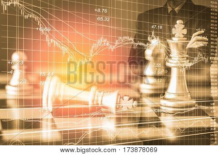 Business Man On Digital Stock Market Financial And Chess Background. Digital Business And Stock Mark