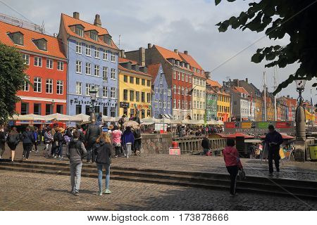 COPENHAGEN, DENMARK - JUNE 29, 2016: Historical Nyhavn district is one of the main attractions of the city.