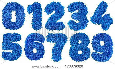 Handmade numbers set from blue crepe paper isolated on white background. Set of numbers from scraps of paper