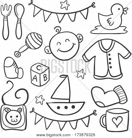 Vector illustration of baby doodles collection stock