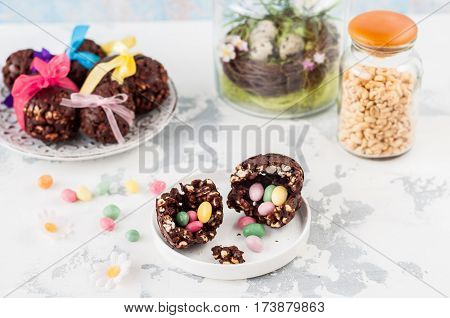 Easter Chocolate And Puffed Wheat Egg With Surprise
