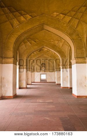 A corridor with colonnade in Akbar's tomb a famous landmark in Agra in the Indian state of Uttar Pradesh