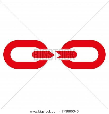 Chain Break vector icon. Flat red symbol. Pictogram is isolated on a white background. Designed for web and software interfaces.