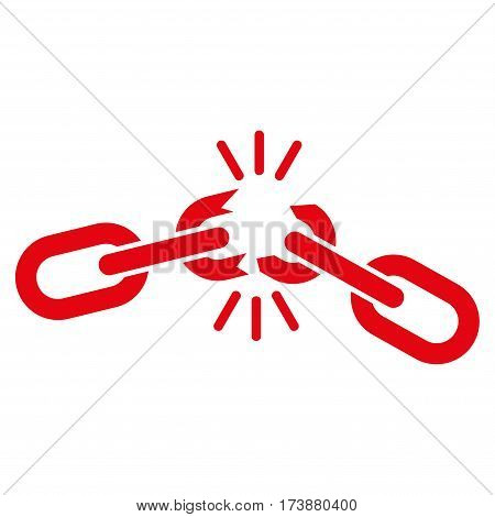 Chain Damage vector icon. Flat red symbol. Pictogram is isolated on a white background. Designed for web and software interfaces.