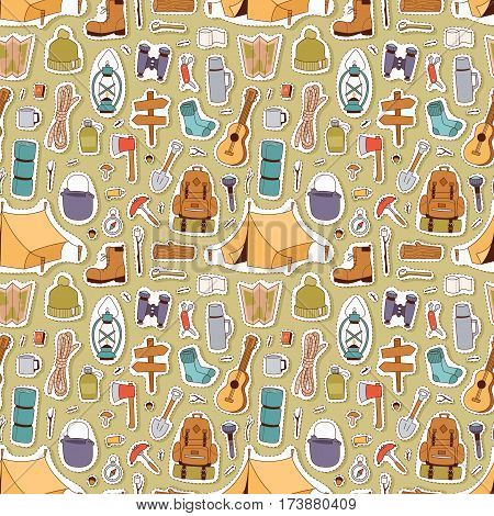 Set of camping stickers in hand drawn style tent, flashlight, match, compass, thermos. Expedition concept camping stickers icons. Vector travel outdoor camp recreation expedition, seamless pattern