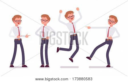 Set of young happy male clerk in smart formal wear, showing positive emotions, successful worker, jumping with joy, pointing and laughing, full length, front view isolated against white background