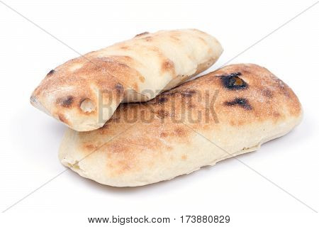 Turkey Traditional Bread Copy Space White Background