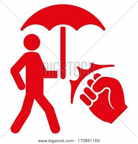 Crime Coverage vector icon. Flat red symbol. Pictogram is isolated on a white background. Designed for web and software interfaces.