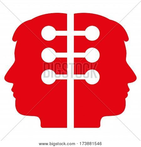 Dual Head Interface vector icon. Flat red symbol. Pictogram is isolated on a white background. Designed for web and software interfaces.