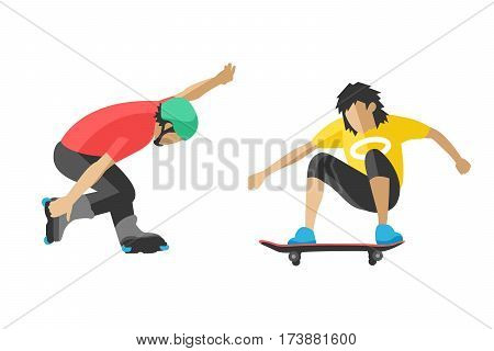 Skateboarder jump fun sport and outdoor skateboarder urban jump. Lifestyle street culture recreation trick.Skateboarder jump doing trick in skate park extreme sport fun urban character flat vector.