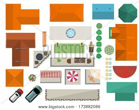 Top View Landscape Isolated Vector Illustration. House Roof, Car, Garden  Furniture, Tree