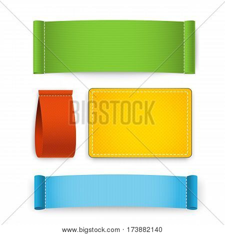Colorful clothing label set isolated on white background vector illustration. Clothing fabric tag stitch, realistic blank textile badges with space for text. Textile clothing label collection. Textile label or textile sticker. Blank textile label.