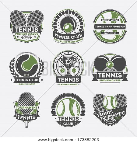 Tennis club vintage isolated label set vector illustration. Tennis championship and tournament symbol, ping pong club icon, sport center, premier league logo. Professional tennis club badge collection