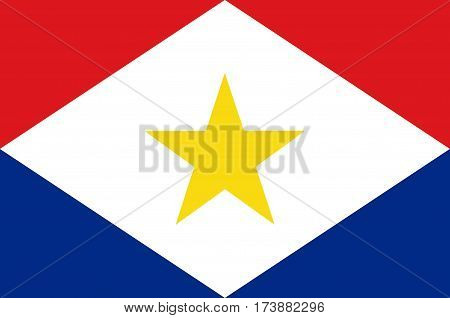 Flag of Saba is a Caribbean island and the smallest special municipality of the Netherlands. Vector illustration
