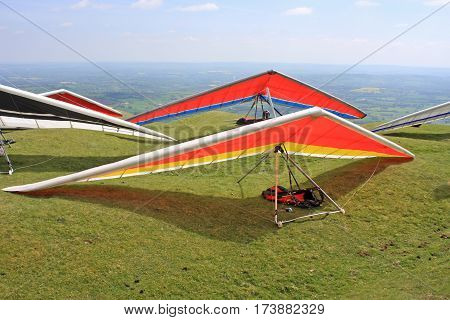 Hang Gliders on the Blorenge ready to fly
