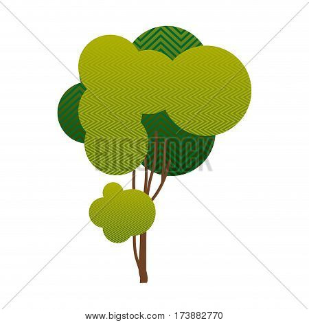 colorful silhouette little leafy tree with wave lines vector illustration