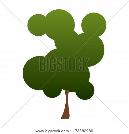 colorful silhouette degraded green tree vector illustration
