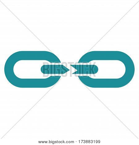 Chain Break vector icon. Flat soft blue symbol. Pictogram is isolated on a white background. Designed for web and software interfaces.