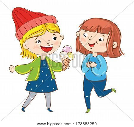 Happy young girl cartoon characters isolated on white background vector illustration. Two girlfriends having fun, standing, smiling and chatting, happy people concept. Hand drawn funny young girl.