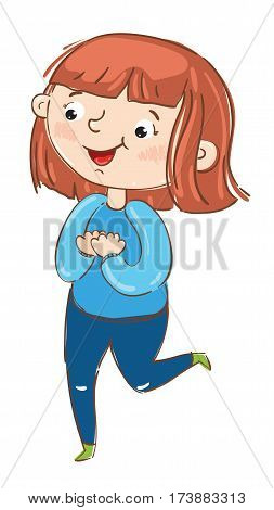 Happy girl cartoon character isolated on white background vector illustration. Cute young woman running, having fun active girl, playing happy people. Hand drawn funny young girl in blue tracksuit.