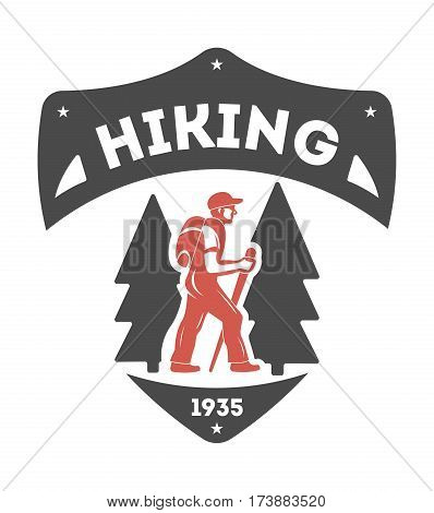 Hiking outdoor vintage isolated label vector illustration. Summer camping symbols. Mountain explorer icon. Wild life concept. Hiking logo. Mountains hiking logo on white background. Hiking badge or hiking emblem for outdoor company id.