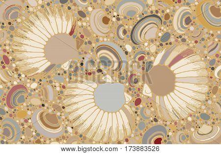 Abstract seashells and pebbles illustration art backdrop