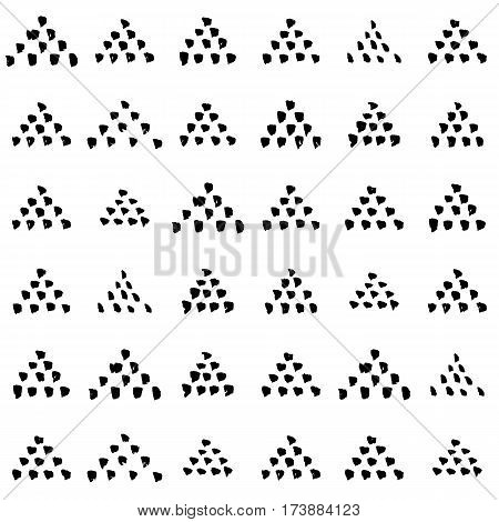 Hand-drawn grunge pattern with a dry brush using black ink. Pattern made of geometric shapes, triangles. Vector background can be used in printing, fabric, packaging, fashion, wraping