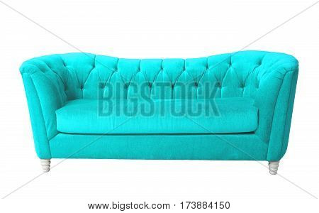 Sky blue furniture isolated on white with clipping path