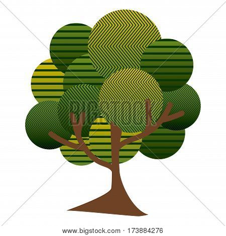 colorful leafy tree plant with abstract lines and thin trunk vector illustration