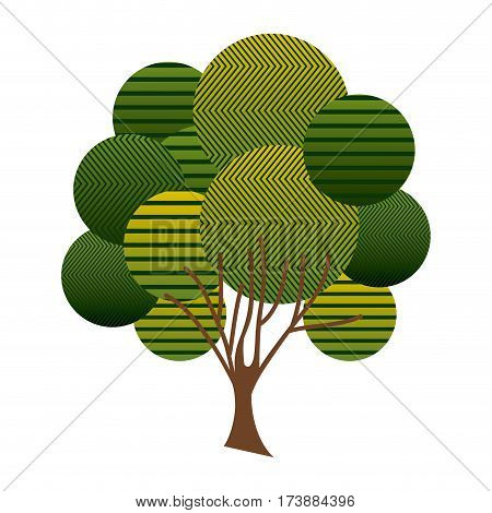 colorful leafy tree plant with abstract lines and ramifications vector illustration