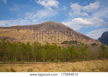 Springtime in Scotland at Glencoe stunning beautiful Scottish glen and mountains in Lochaber famous tourist destination