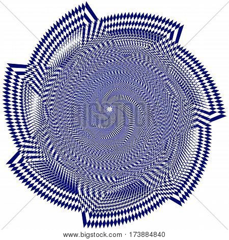 Vector illustration of blue sweeping pattern of the seven-pointed star on a white background creates an optical illusion.