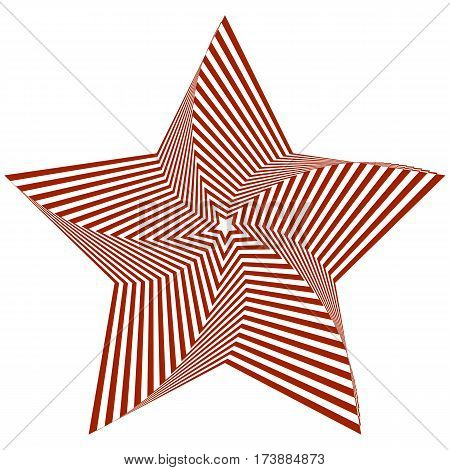Vector illustration of distorted red five-pointed star on a white background creates an optical illusion.