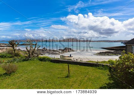 Isle of Iona Scotland uk Scottish island beautiful white sand beach and view to Mull
