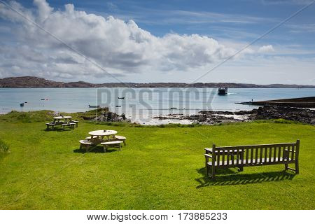 Isle of Iona Scotland uk Scottish island beautiful white sand beach and view to Mull with ferry