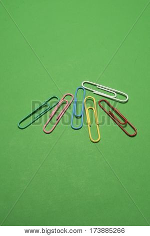 Varios colored paperclips used for attaching documents