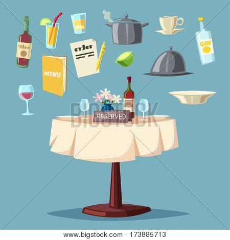 Reserved table in restaurant. Cartoon vector illustration. Dinner date. Food and drink theme. Romantic evening.