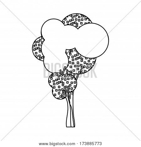 silhouette little leafy tree with pixels square vector illustration