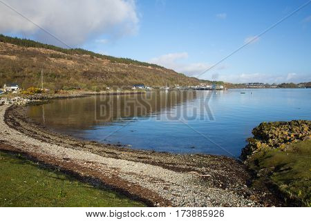Craignure Isle of Mull Argyll and Bute Scotland uk view to ferry port