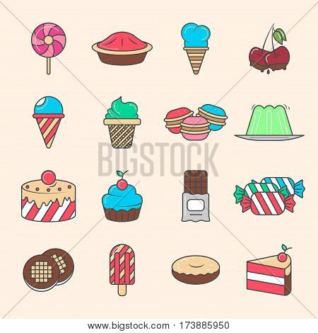 Sweet dessert icon set isolated vector illustration. Ice cream, cake, chocolate, donut, cookie, candy, jelly, pie, cupcake, cheesecake, lollipop pictograms. Cafe, restaurant, pastry shop sweet menu