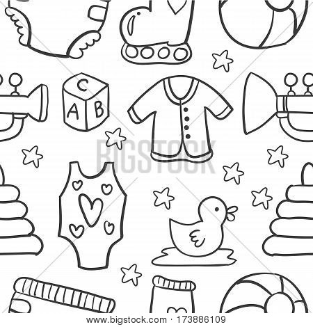 Illustration of baby object doodles collection stock
