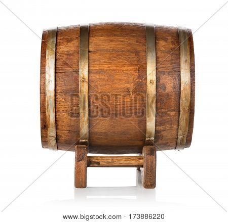 Old wooden barrel side view isolated on white