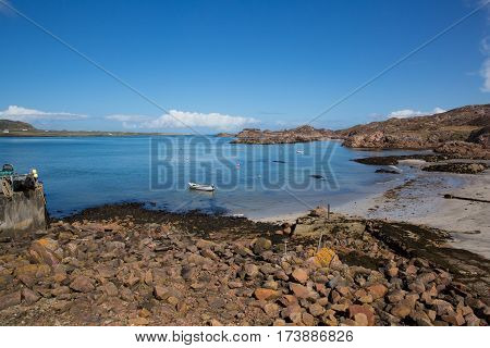 Fionnphort port Isle of Mull Scotland UK view to Iona island