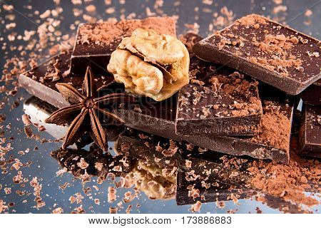 Chocolate Pieces With Cocoa Powder, Chocolate Shavings, Anise Star