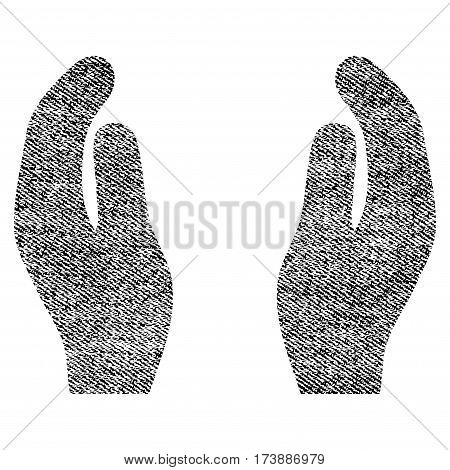Applause Hands vector textured icon for overlay watermark stamps. Black jeans fabric vectorized texture. Symbol with dust design. Black ink rubber seal stamp with fiber textile structure.