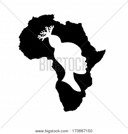 Vector silhouette of black Africa with white african american woman head silhouette with baobab hairstyle inside.