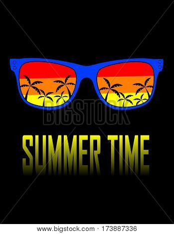 Sunglasses with reflection of sunset scene with palm silhouettes.Vector cartoon illustration. Concept summer holidays.