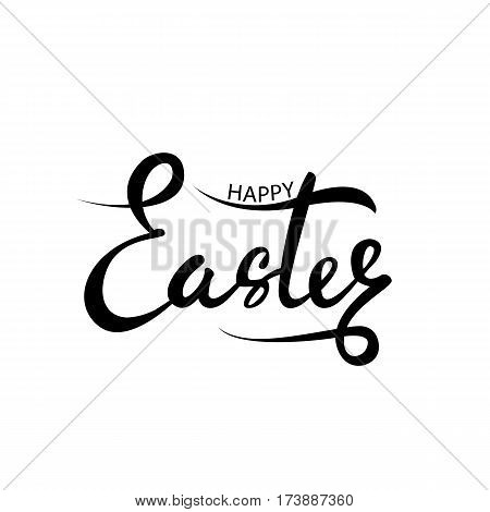 Happy Easter. Vector lettering. Isolated on white background. Hand written happy Easter phrase. Lettering modern calligraphy style. Religious holiday design element. Happy Easter black text.