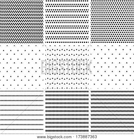 Set Of Geometric Line Monochrome Abstract Seamless Pattern With Triangle  And Rectangle