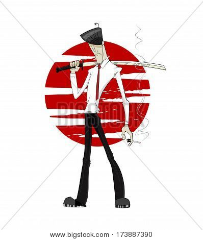Young businessman with japanese sword and cigarette om red sun background. Business Concept of leadership, agressive sales and stress. Cartoon vector illustration